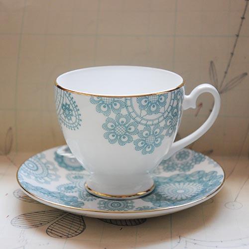 Debbie Bryan Nottingham Lace Ceramic Teacup and Saucer