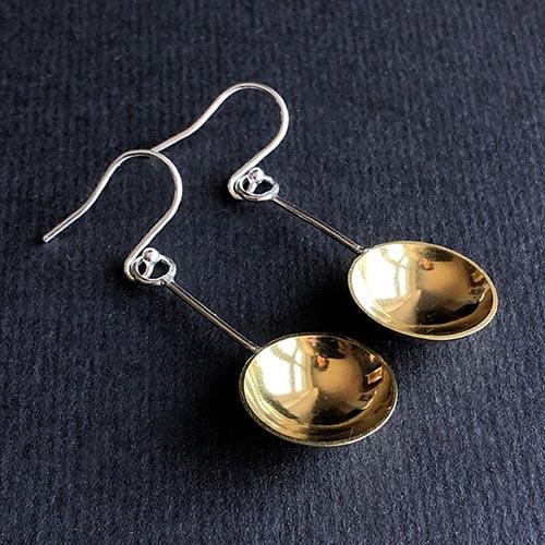 Melissa Montague Brass Dangle Spoon Earrings