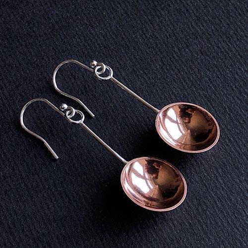 Melissa Montague Copper Dangle Spoon Earrings