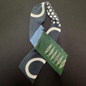 Silk Crepe de Chine Scarf: Stripy Pods Print