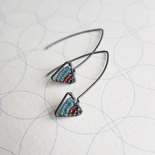 Judith Brown Geometric Oxidised Silver Earrings