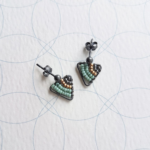 Judith Brown Geometric Oxidised Silver Stud Earrings