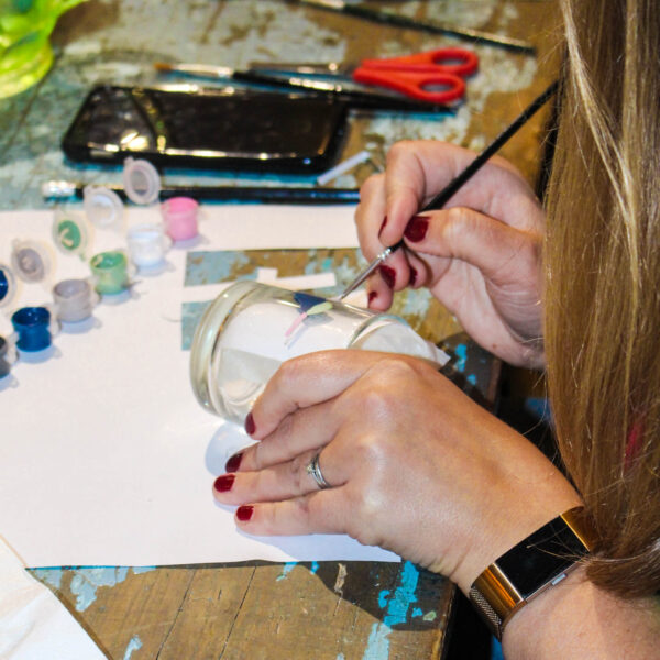 glass painting candle